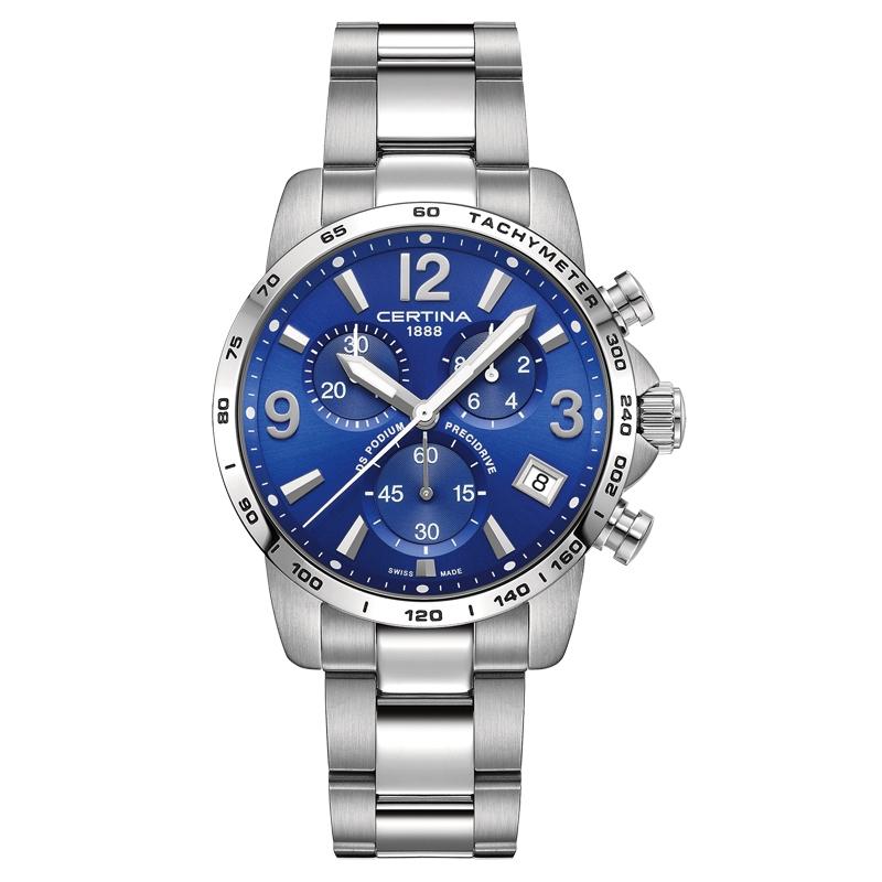 Image of   Certina DS Podium Chronograph 1/10 sec armbåndsur i stål med blå skive