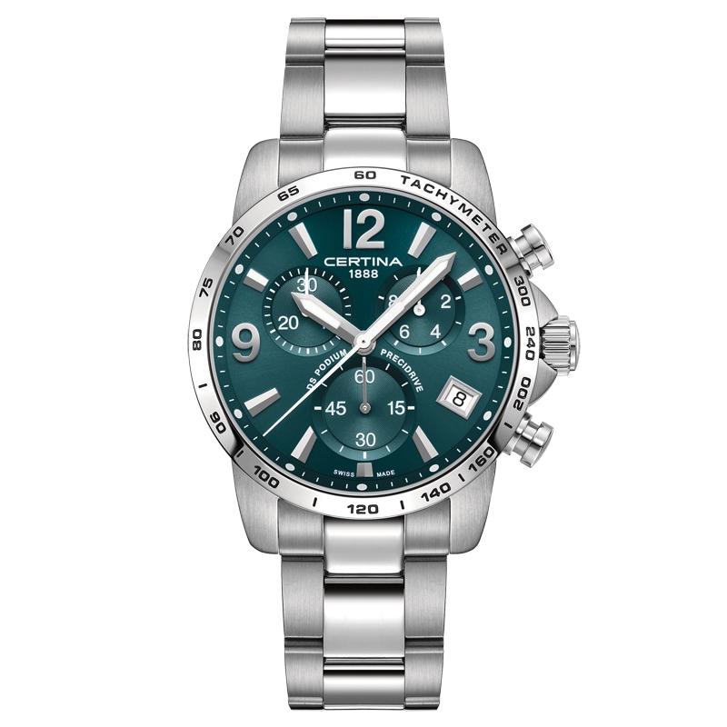 Image of   Certina DS Podium Chronograph 1/10 sec armbåndsur i stål med grøn skive