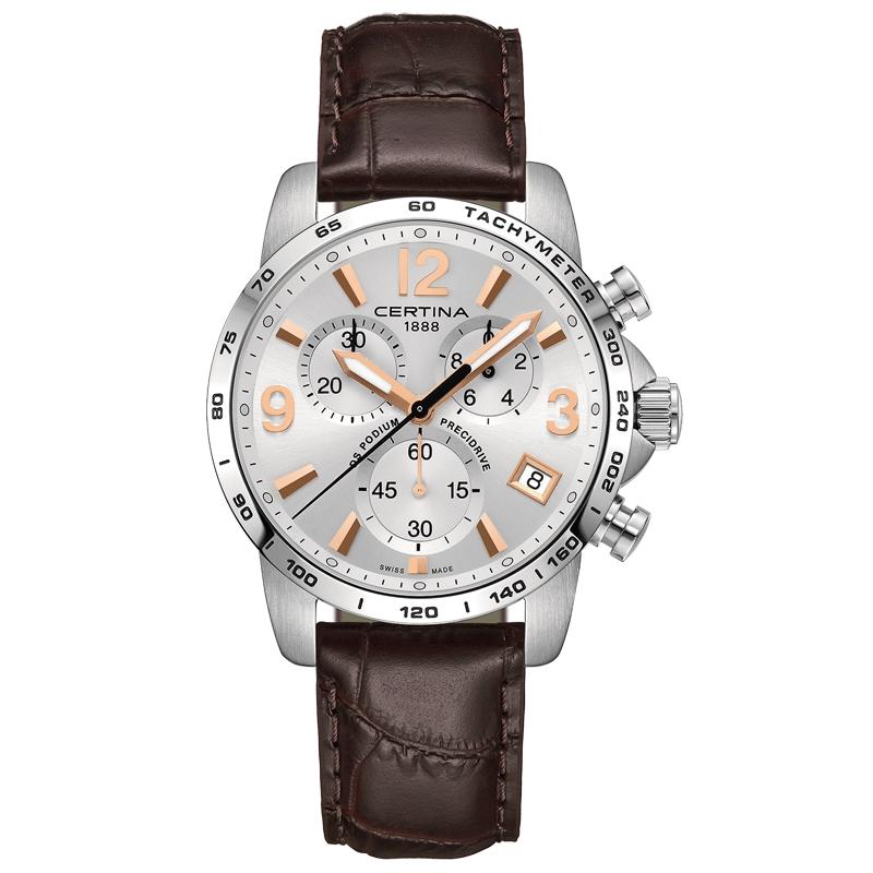 Image of   Certina DS Podium Chronograph 1/10 sec armbåndsur i stål med sølvgrå skive og brun kroko læderrem