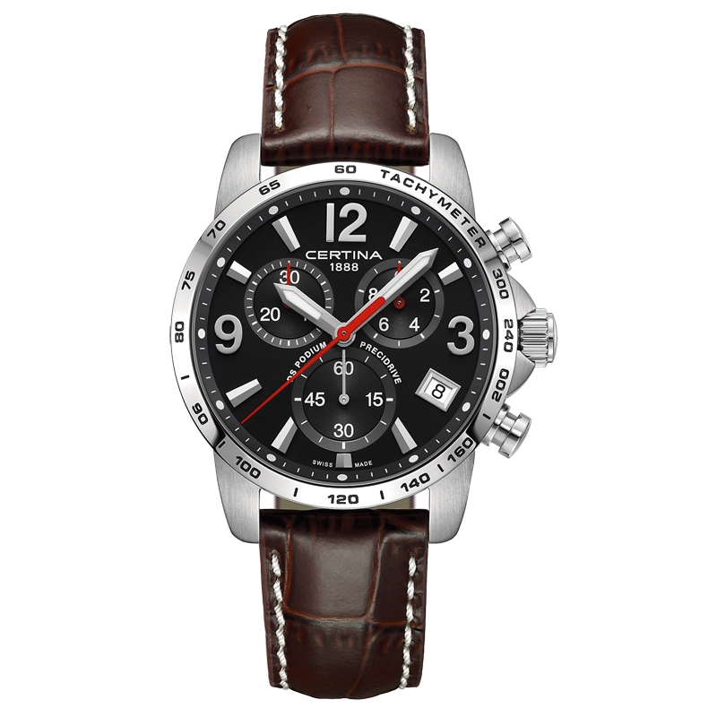 Image of   Certina DS Podium Chronograph 1/10 sec armbåndsur i stål med sort skive og brun kroko læderrem