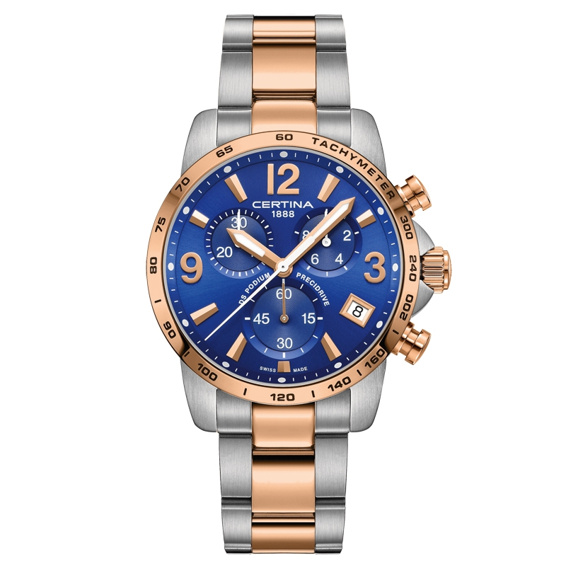 Image of   Certina DS Podium Chronograph 1/10 sec armbåndsur i bicolour med blå skive