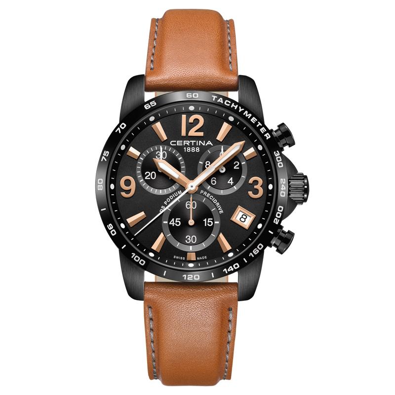 Image of   Certina DS Podium Chronograph 1/10 sec armbåndsur med sort skive og brun læderrem
