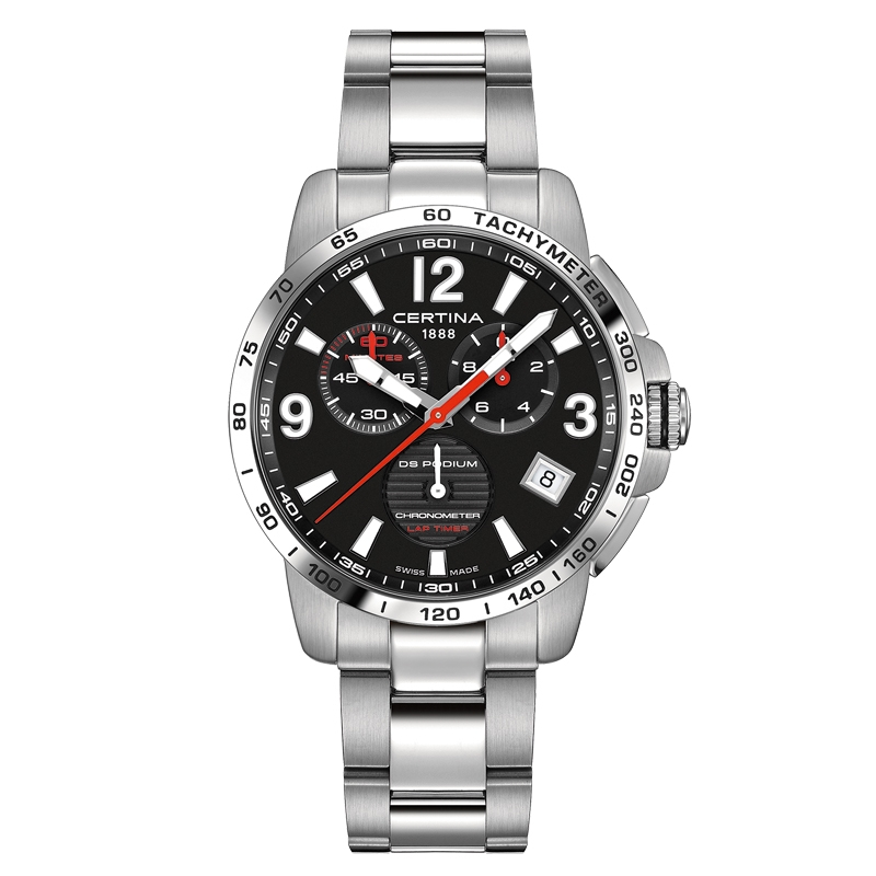 DS Podium Chronograph Lap Timer armbåndsur i stål med sort skive og stål lænke