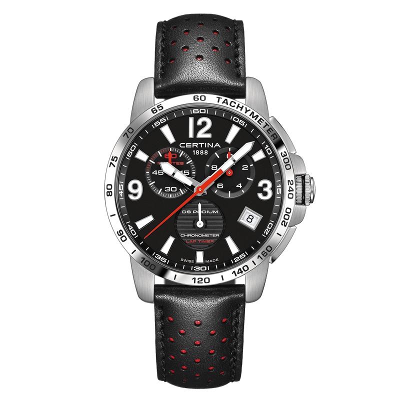 Image of   Certina DS Podium Chronograph Lap Timer armbåndsur i stål med sort skive og sort læderrem