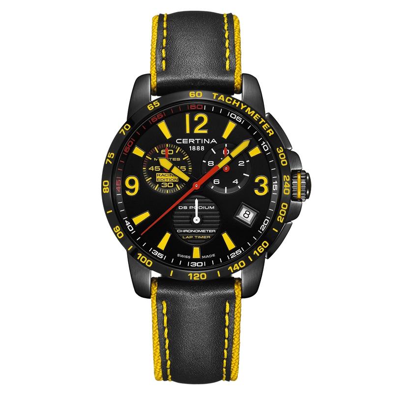 Image of   Certina DS Podium Chronograph Lap Timer armbåndsur i sort stål med sort/gul skive og sort læderrem