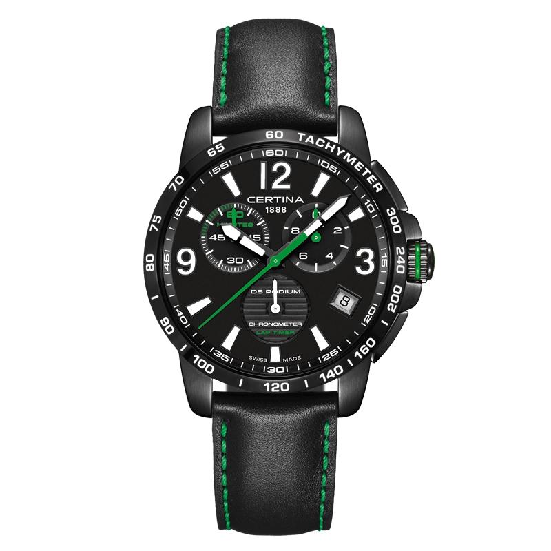 Image of   Certina DS Podium Chronograph Lap Timer armbåndsur i sort stål med sort skive og sort læderrem