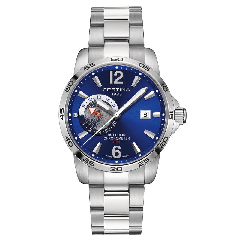 Image of   Certina DS Podium GMT Chronometer armbåndsur i stål med blå skive og stållænke