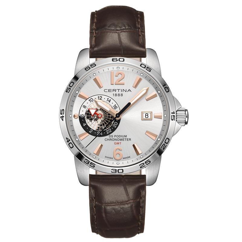 Image of   Certina DS Podium GMT Chronometer armbåndsur i stål med sølvgrå skive og brun kroko læderrem