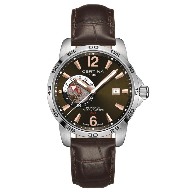 Image of   Certina DS Podium GMT Chronometer armbåndsur i stål med mørkegrå skive og brun kroko læderrem