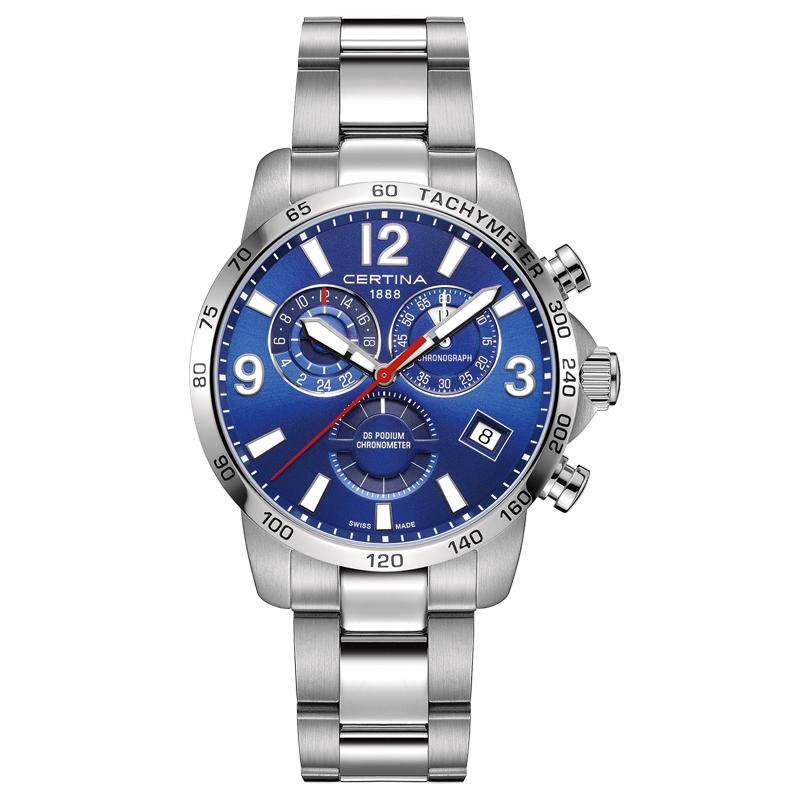 Image of   Certina DS Podium chronograph GMT armbåndsur med blå skive og stållænke