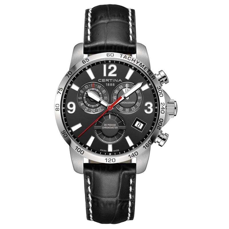 Image of   Certina DS Podium chronograph GMT armbåndsur med sort skive og sort kroko læderrem