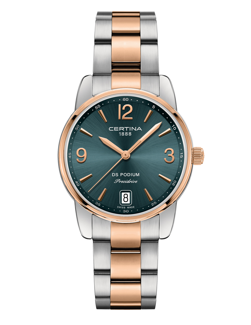 Image of   Certina DS Podium Lady 33 mm armbåndsur bicolor med mørkegrøn skive