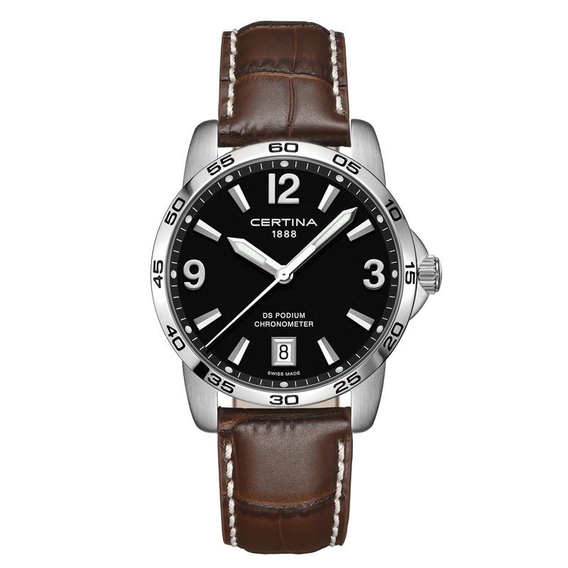 Image of   CERTINA DS Podium ur i stål med sort skive og brun læderrem