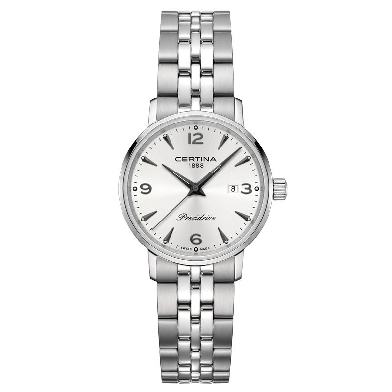 Image of   Certina DS Caimano lady armbåndsur i stål med sølvgrå skive og lænke