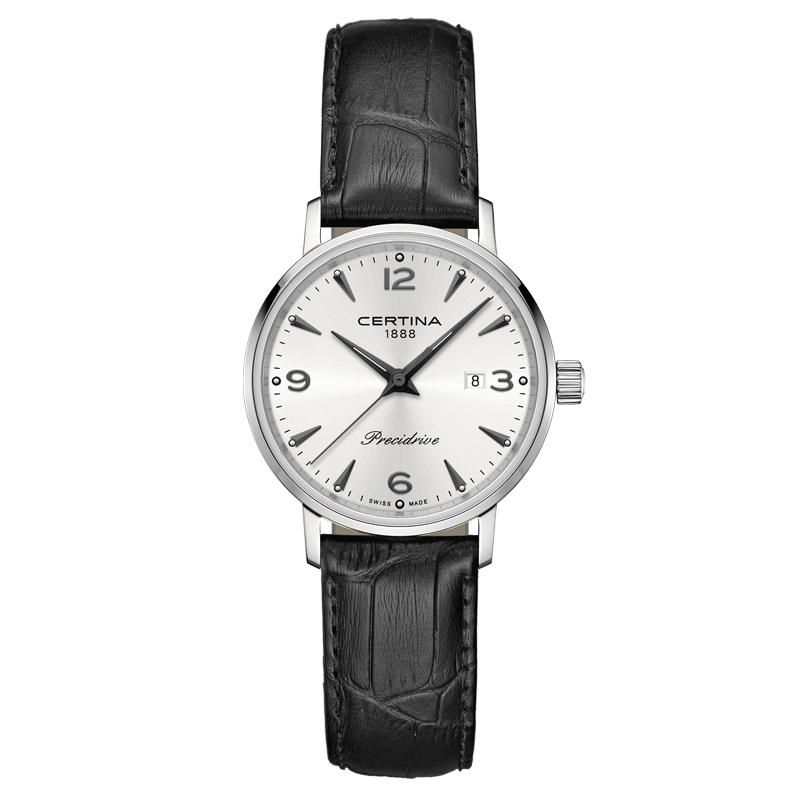 Image of   Certina DS Caimano lady armbåndsur i stål med sølvgrå skive og sort læderrem