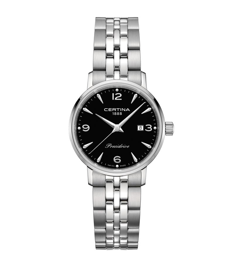 Image of   Certina DS Caimano lady armbåndsur i stål med sort skive og lænke
