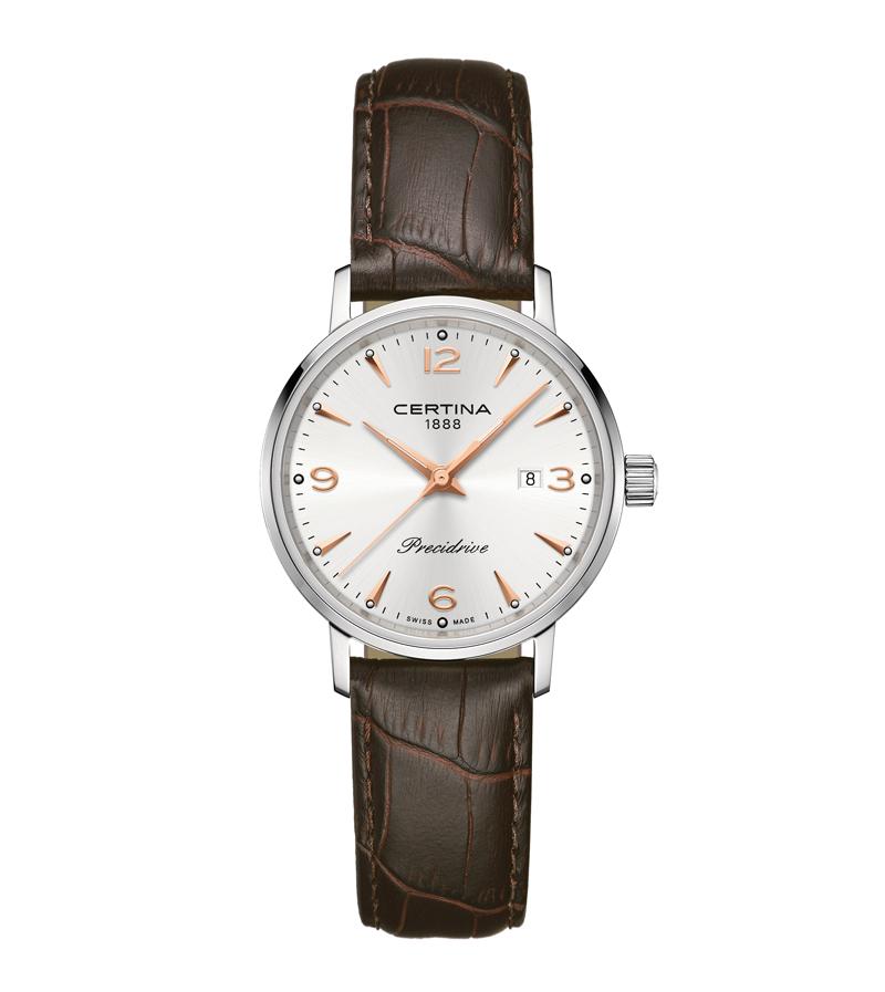 Image of   Certina DS Caimano lady armbåndsur i stål med sølvgrå skive og brun læderrem