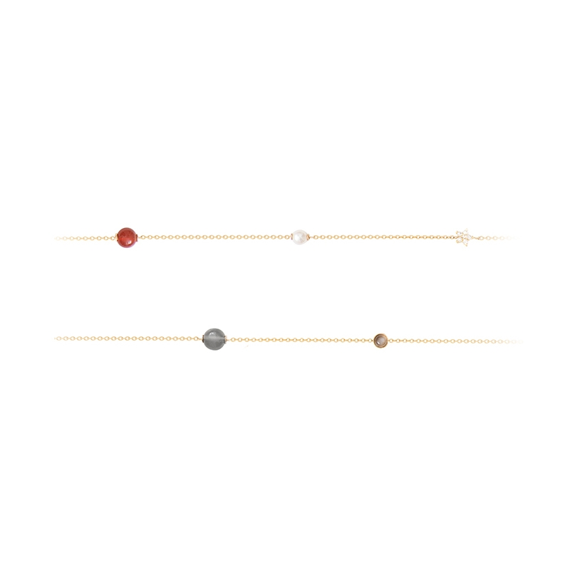 Ole Lynggaard Atelier Collier i rødguld 90 cm med sten