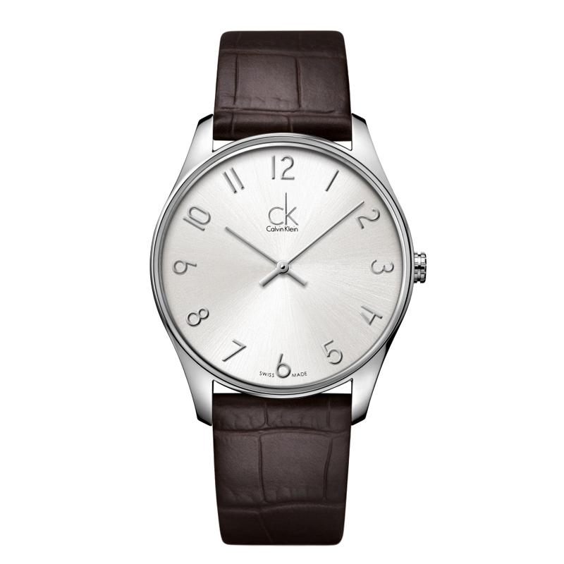 Image of   Calvin Klein - CK Classic herreur, sølvgrå skive med brun læderrem