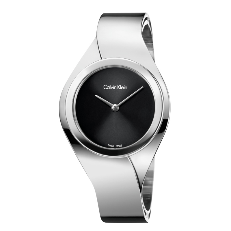 Calvin Klein - CK Senses dameur i stål, sort skive