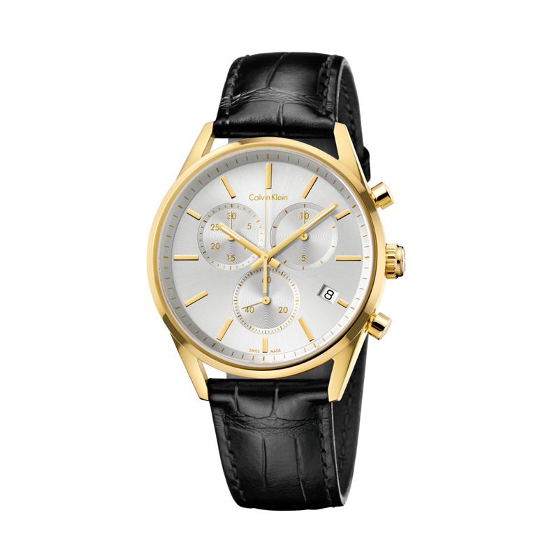 Calvin Klein Formality Chrono ur i forgyldt stål m. sort læderrem