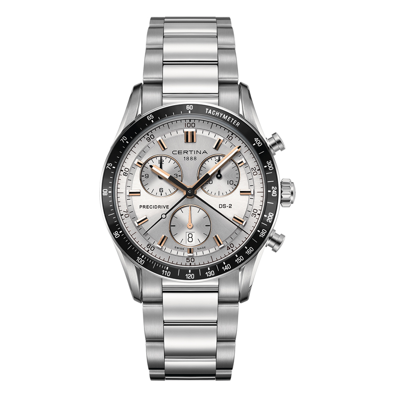 Certina DS 2 chrono 1/100 sec armbåndsur med sølvgrå skive og stållænke