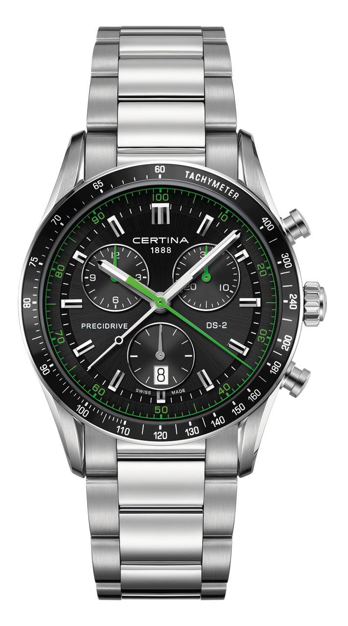 Certina DS 2 chrono 1/100 sec armbåndsur stål/grøn med stållænke