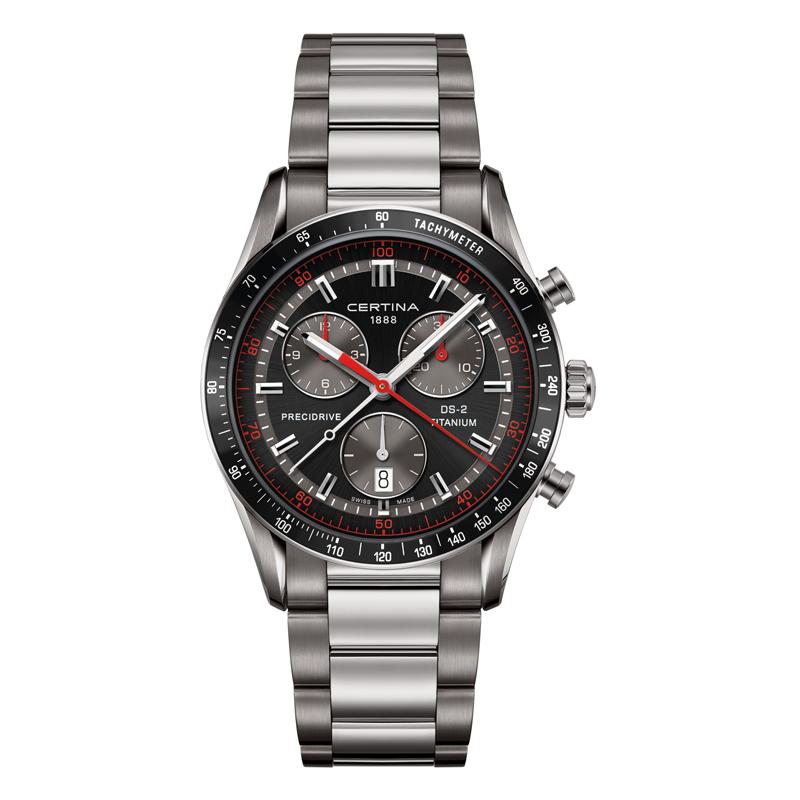 Certina DS 2 chrono 1/100 sec armbåndsur i titanium - sort/rød