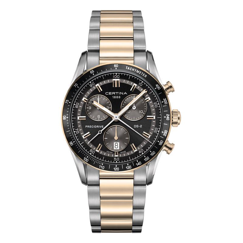 Image of   Certina DS 2 chrono 1/100 sec armbåndsur med sort skive og bicolour stållænke