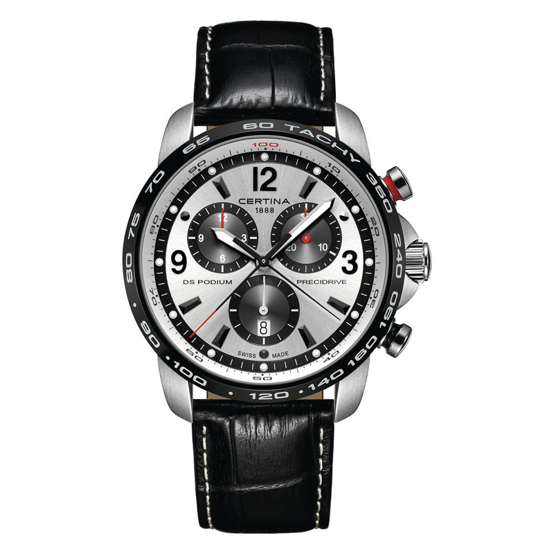 Certina DS Podium Precidrive chronograph stål med sort læderrem