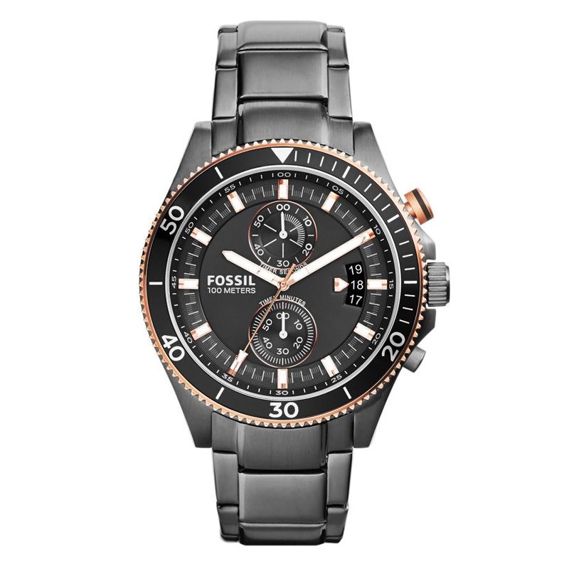 FOSSIL Wakefield chronograph armbåndsur i sort stål