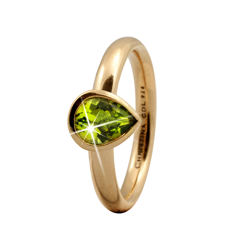 Christina Peridot pear ring i forgyldt