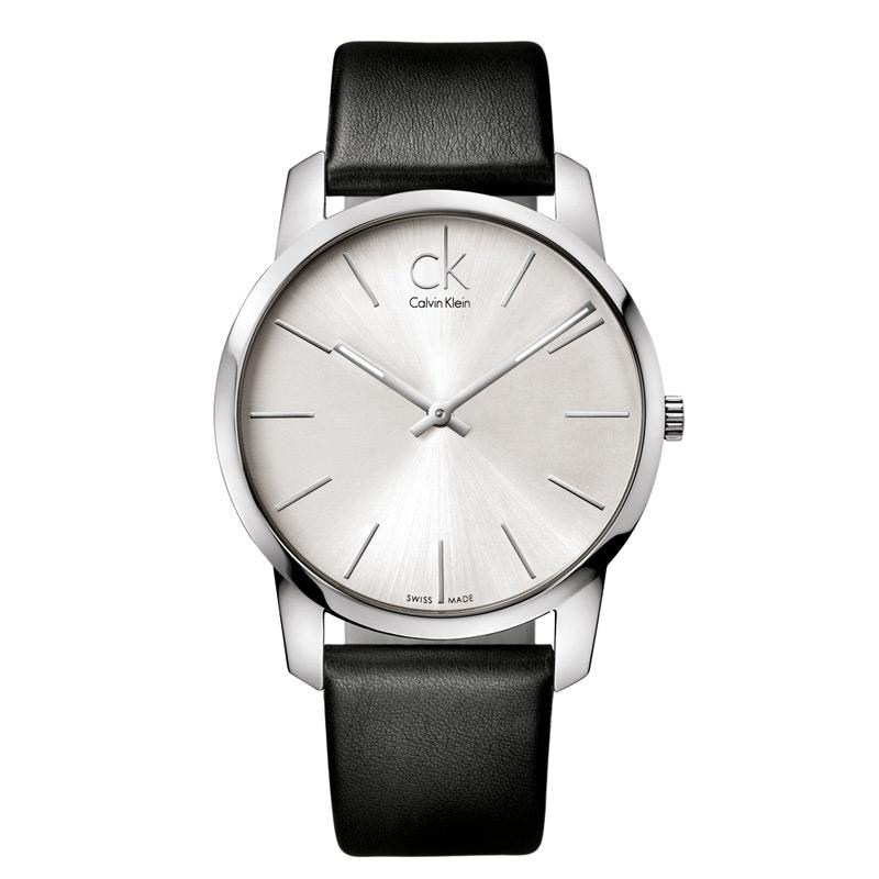 Image of   Calvin Klein - CK City herreur, sølvgrå skive med sort læderrem