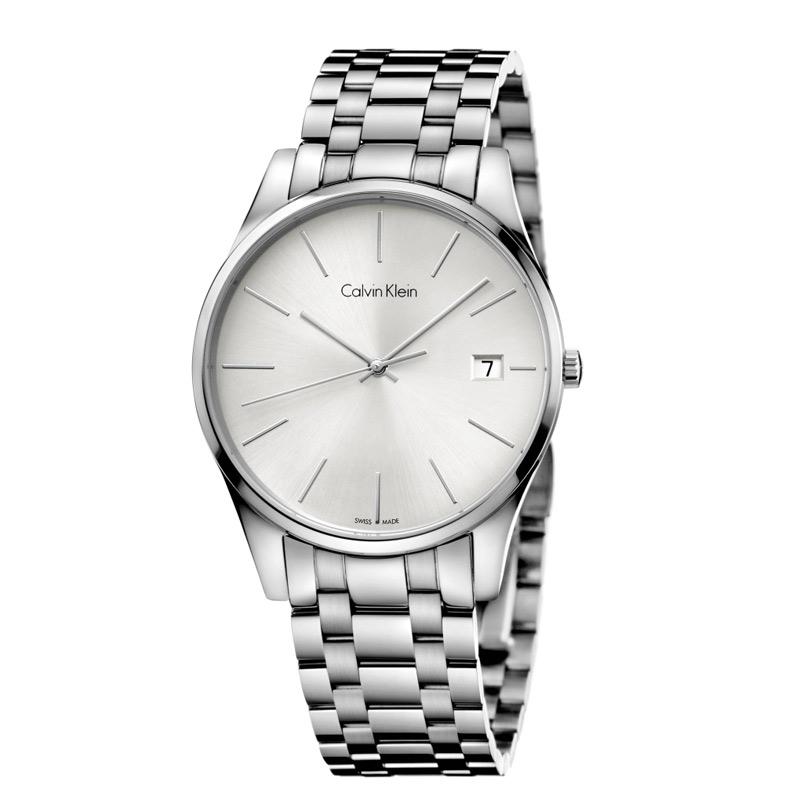 Image of   Calvin Klein - CK Time herreur, sølvgrå skive med stållænke