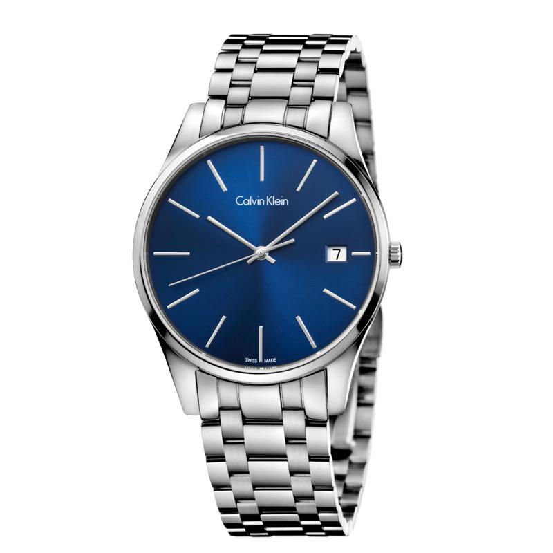 Image of   Calvin Klein - CK Time herreur, blå skive med stållænke