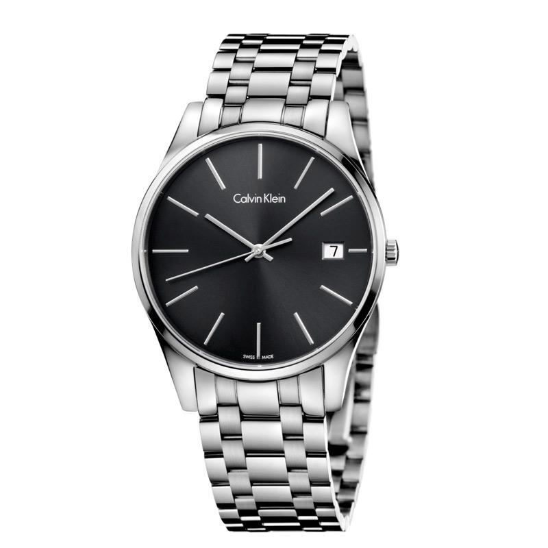 Image of   Calvin Klein - CK Time herreur, sort skive med stållænke