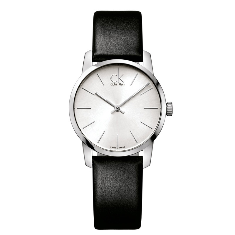 Image of   Calvin Klein - CK City dameur, sølvgrå skive med sort læderrem