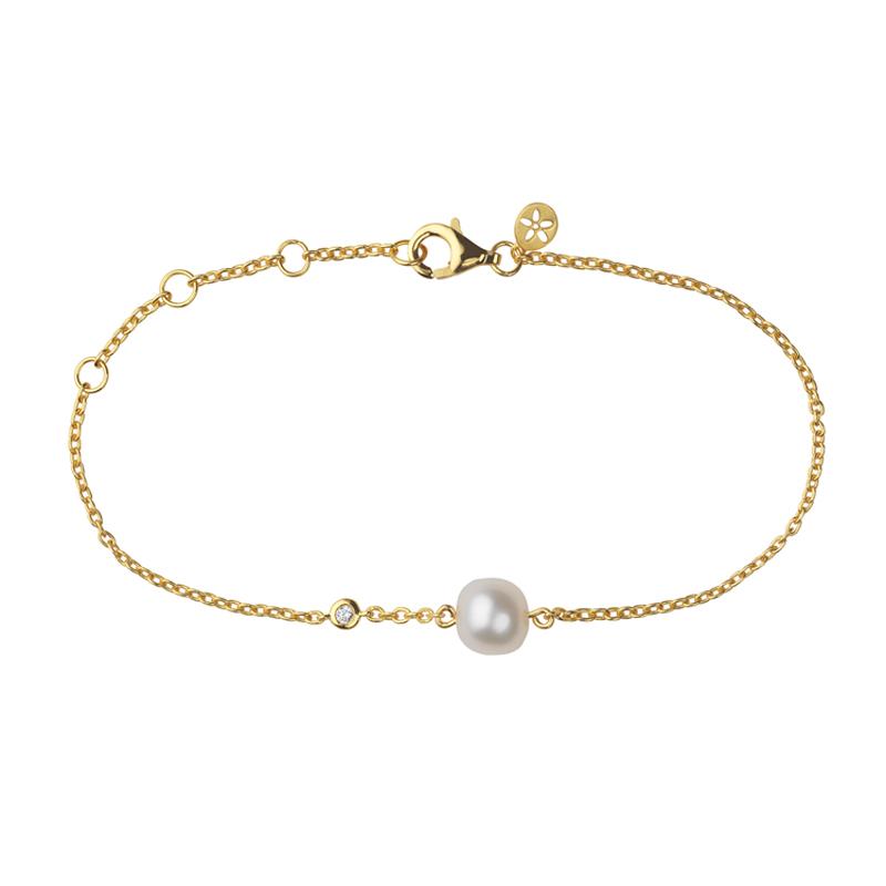 Image of   Bybiehl Coco forgyldt armbånd med perle og cubic zirkonia, 19 cm