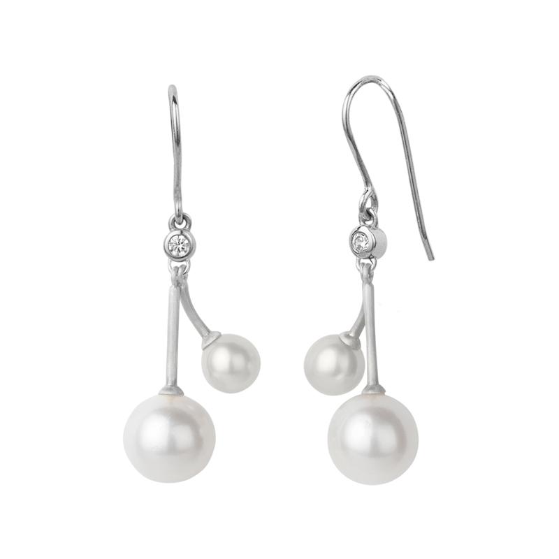 Image of   Bybiehl Coco Cherry sølv øreringe med to perler og cubic zirkonia
