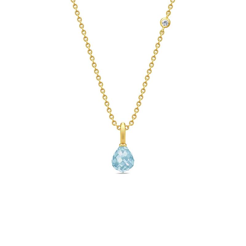 Julie Sandlau Evening Dew forgyldt halskæde med blå krystal