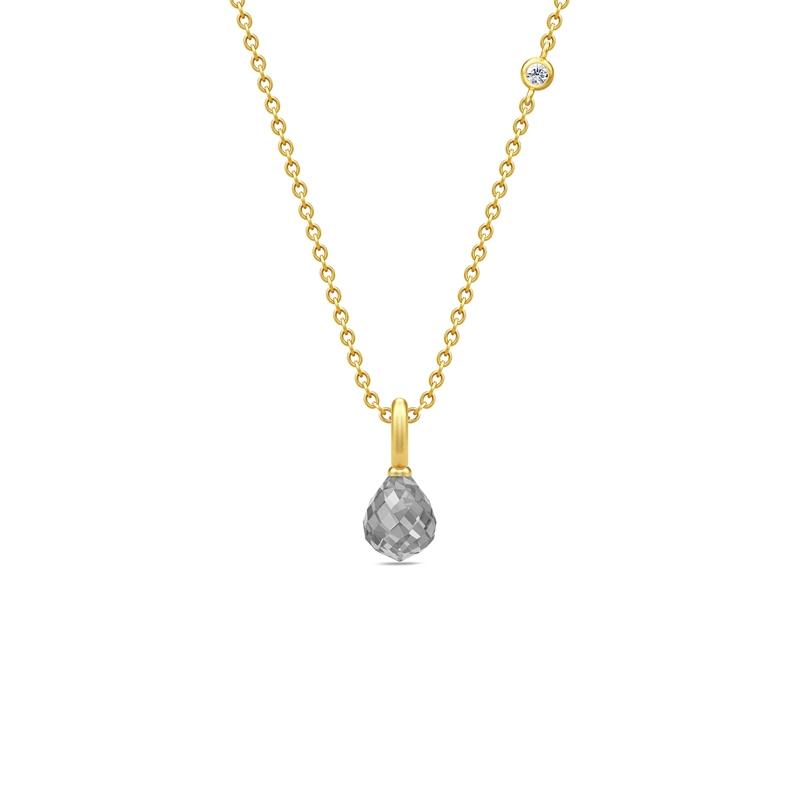 Julie Sandlau Evening Dew forgyldt halskæde med grå krystal