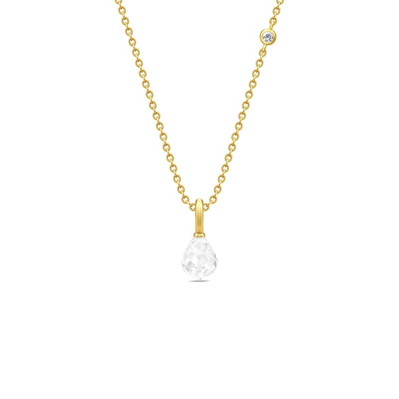 Julie Sandlau Evening Dew forgyldt halskæde med klar krystal