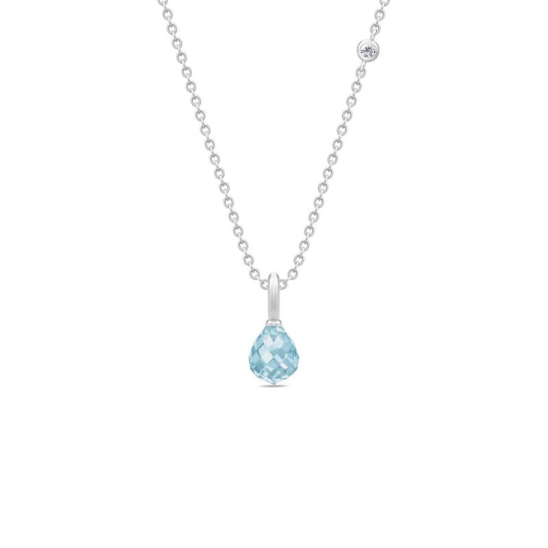 Julie Sandlau Evening Dew sølv halskæde med blå krystal