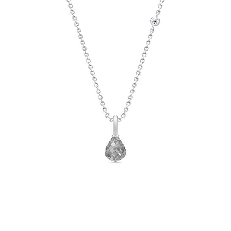 Julie Sandlau Evening Dew sølv halskæde med grå krystal