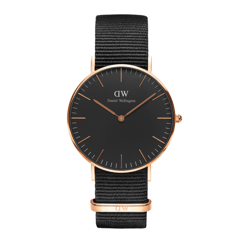 Image of   Daniel Wellington Classic Black Cornwall i rosa - 36 mm