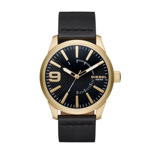 Image of   Diesel RASP armbåndsur i guldfarvet stål med sort skive og sort læderrem