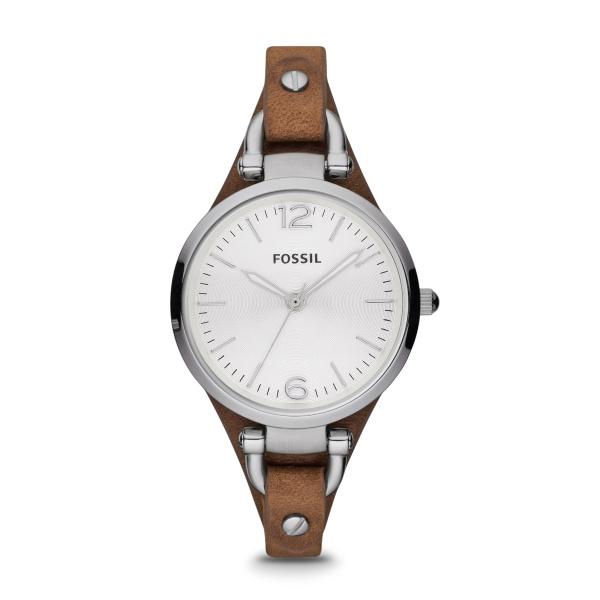 Fossil Georgia armbåndsur i stål med brun læderrem