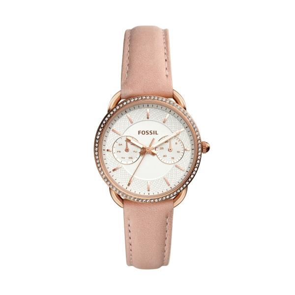 FOSSIL Tailor armbåndsur i rosa stål med krystaller, pudderfarvet læderrem