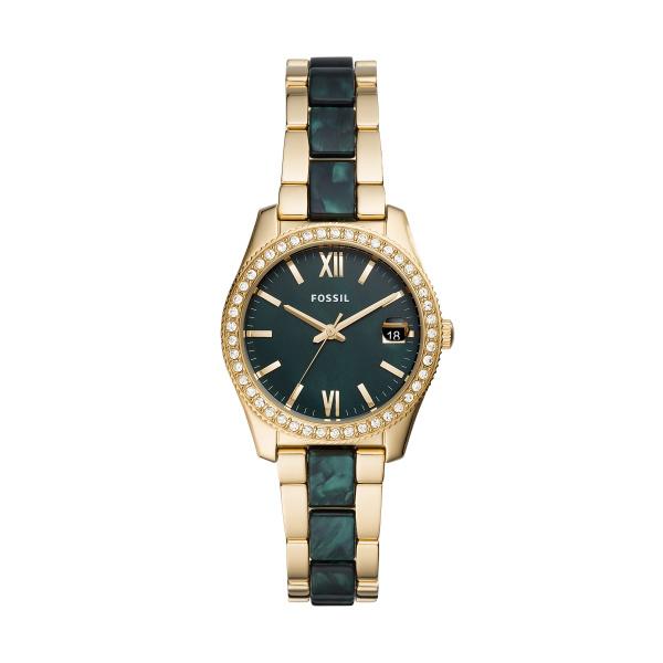 FOSSIL Scarlette guldfarvet armbåndsur med grøn perlemorsskive og krystaller thumbnail