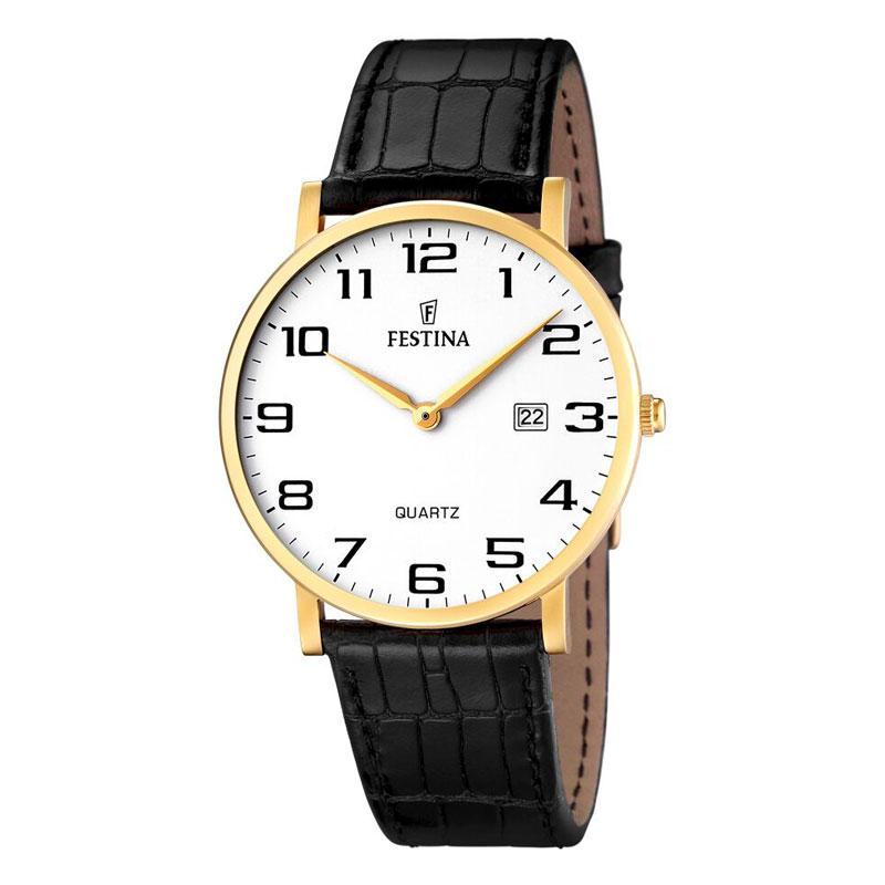 Image of   Festina armbåndsur i guldfarvet stål med hvid skive og sort læderrem